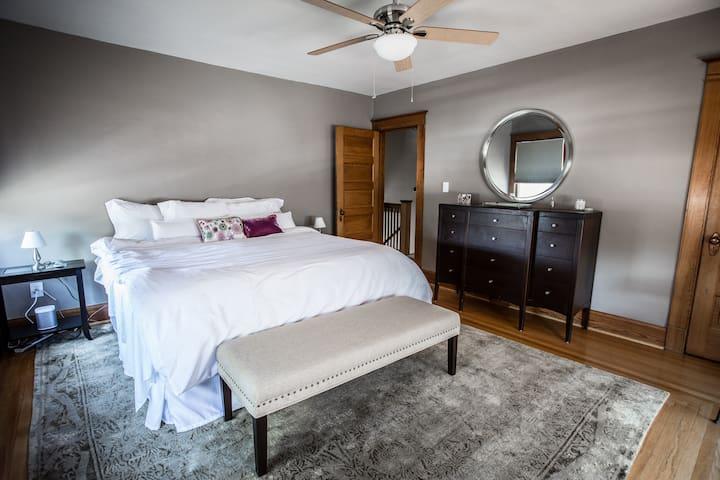 BEDROOM #1 - The Master Bedroom with King-sized SleepNumber bed, windowseat, walk-in closet.