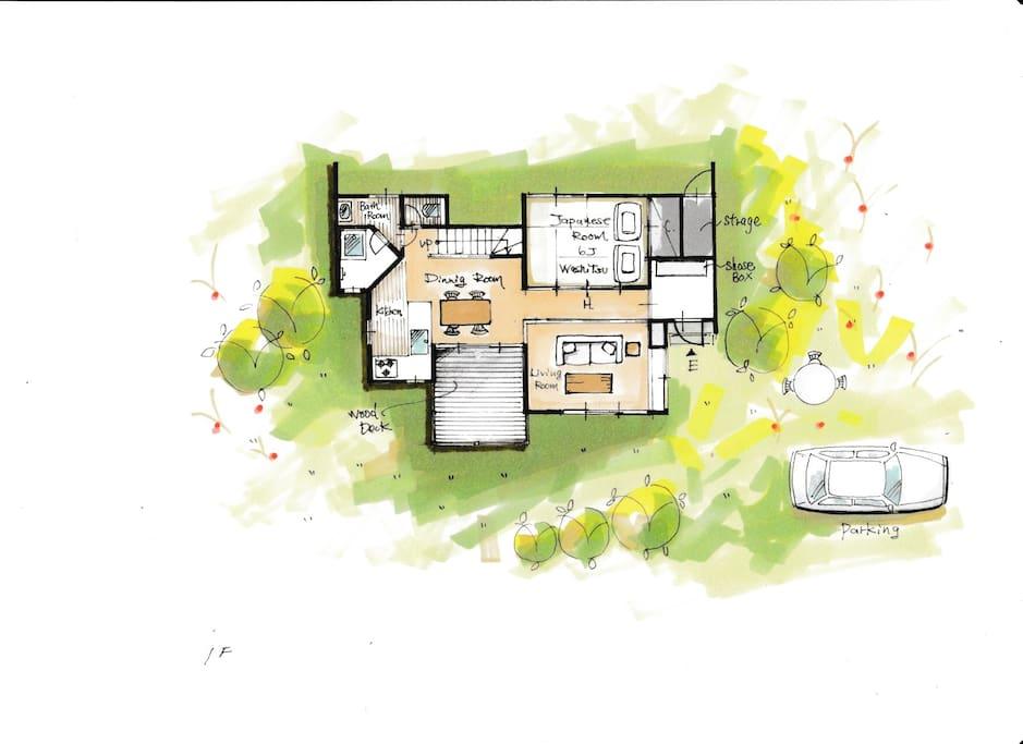 Grand floor plan 1階間取り図です。和室に2セット布団をご用意できます。