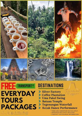 Let's join our daily free Ubud tour.....when you stay with us