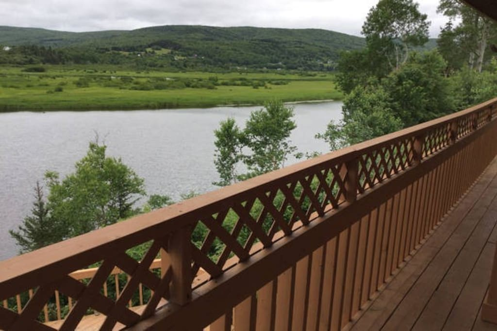 The porch river view of the Margaree River.