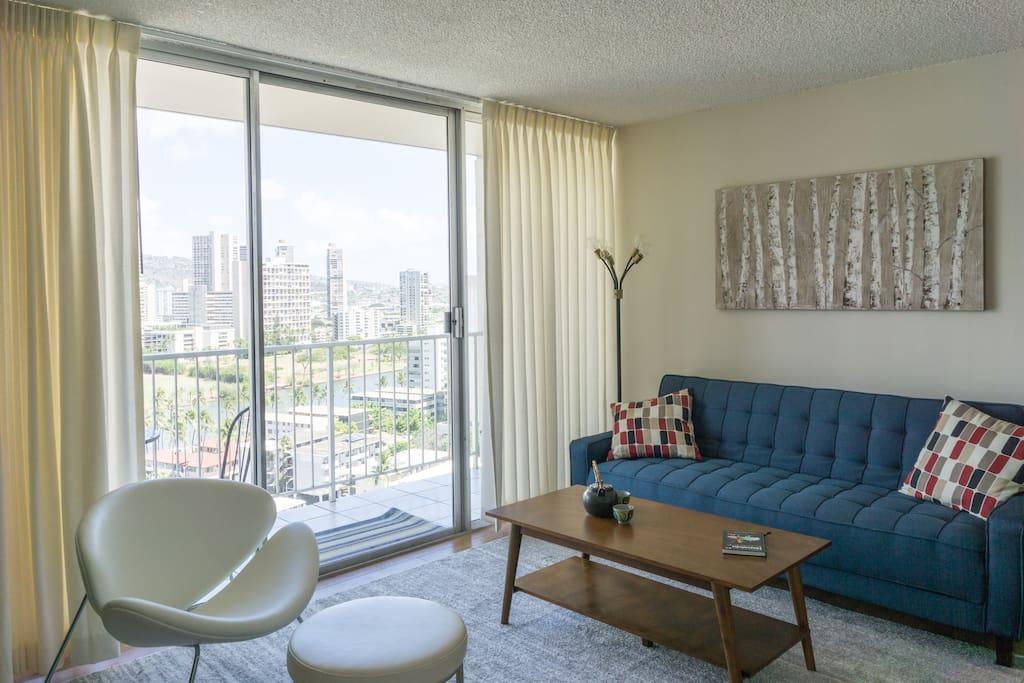 Modern stylish and comfortable furnishings including a sleeper sofa