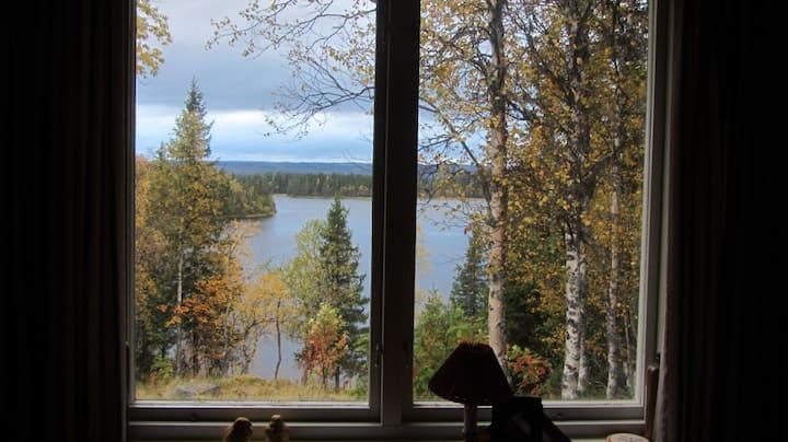 Schwedenhaus am See mit Rentieren als Nachbarn