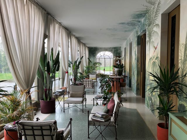 Our indoor jardin d'hiver with tropical plants and parrots