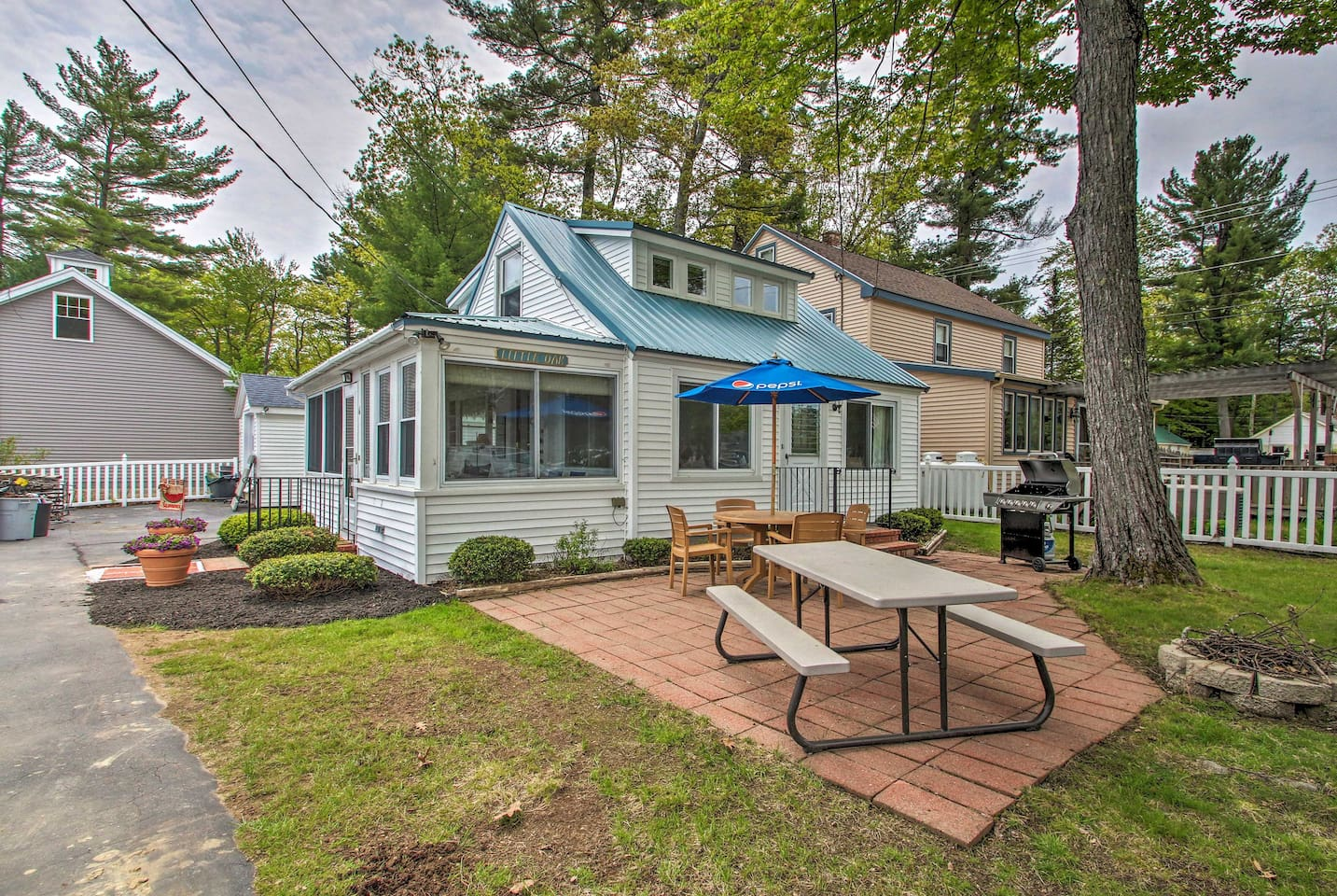 Lounge lakeside at this 2-bedroom, 1-bath cottage.