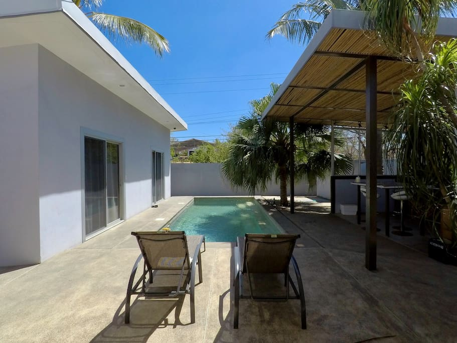 Pool between Bungalows and Kitchen area