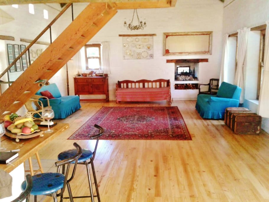 Open plan living space with oregon pine floors