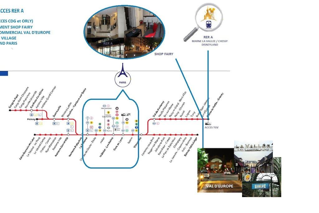 Localisation Appartement Val d'Europe Disneyland