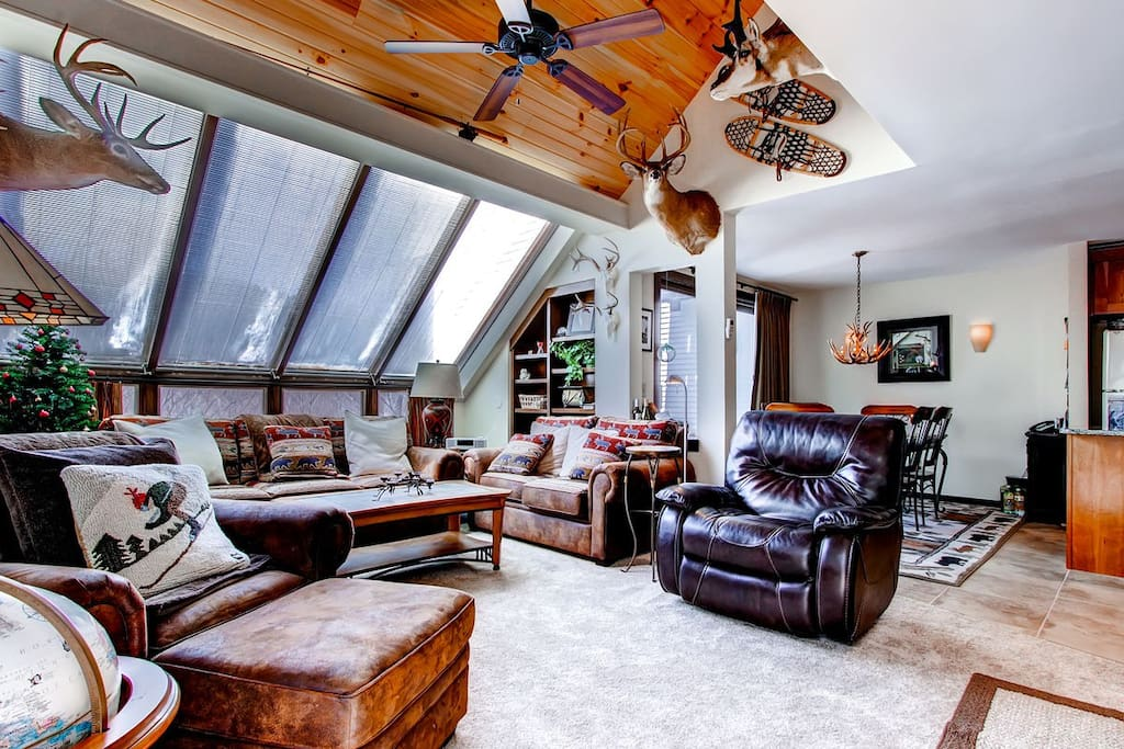 Thw main living room has a huge sky light behind the pull out couch
