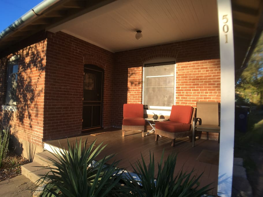 The front porch is a great place to drink morning coffee and plan your day exploring the area.