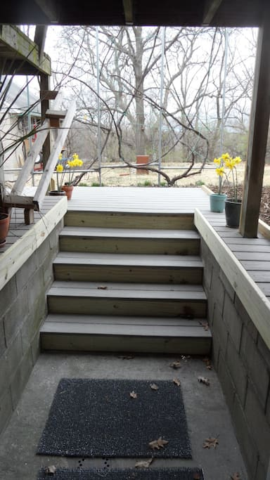 Four steps up to the new walk/deck