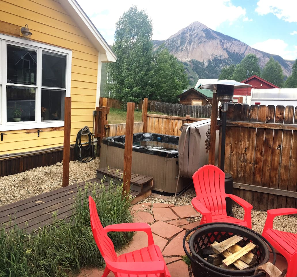 Views, hot tub, seating, BBQ, Firepit in backyard