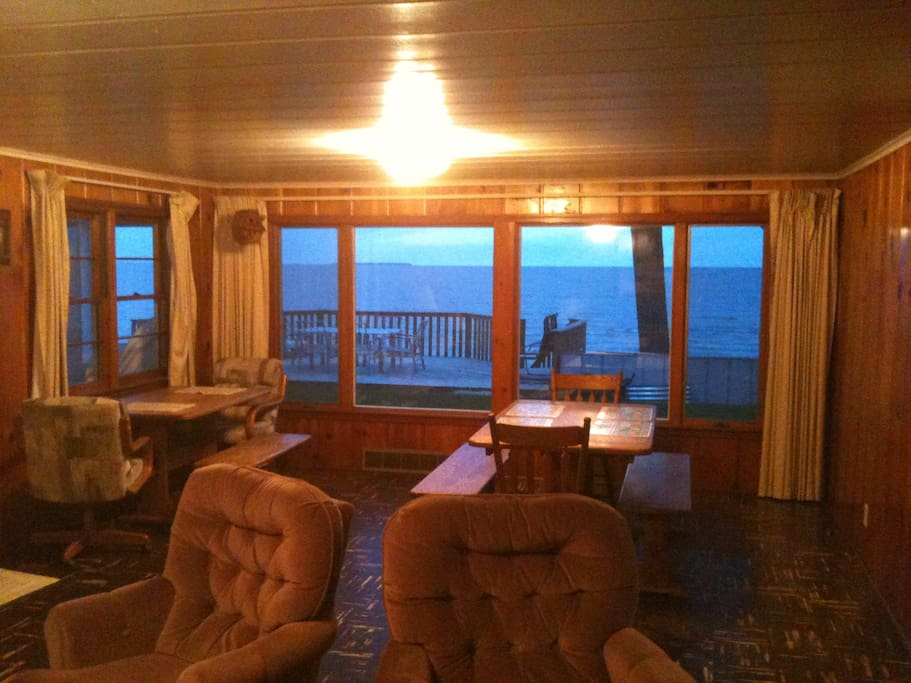 View of deck and water from the living room