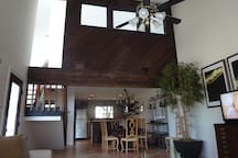 Large open family room, dining room and kitchen