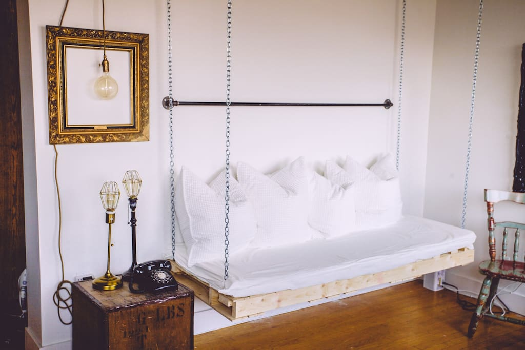 Sleep one on this single sized hanging day bed