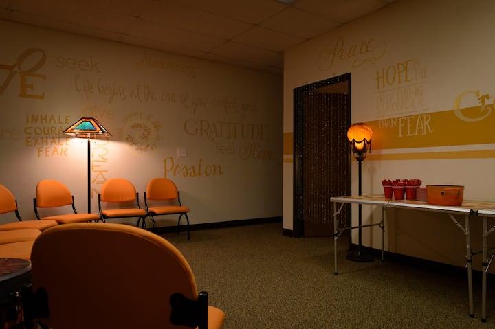 Large group room where I do Sound Baths