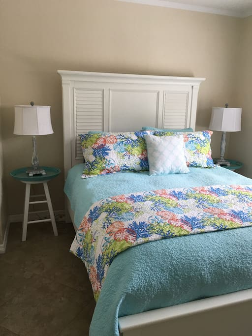 Bedroom with a queen size bed.  Includes matching dresser, closet and T.V./cable/wifi. Owner has a locked trunk in the closet.