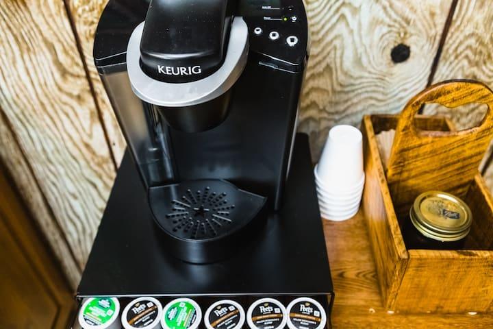 Keurig coffee bar.