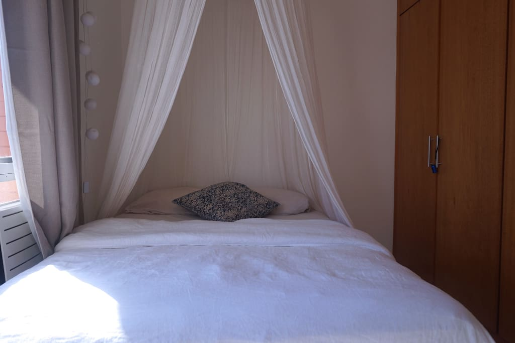Bedroom with Queen Size double bed, wardrobe, desk, a super silent air con (split/inverter)  and a fantastic view.