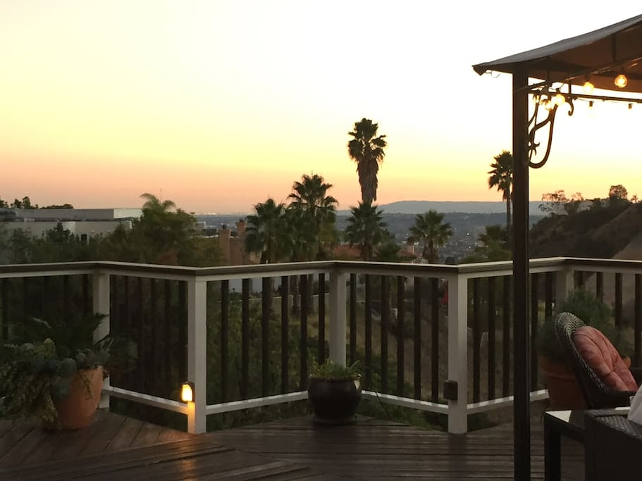 The home faces south and west and enjoys direct sunlight all day with  views to Palos Verdes and Long Beach