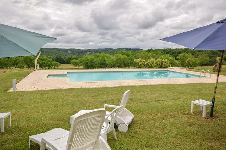 Spacious and beautifully situated gite with large pool and lots of privacy.