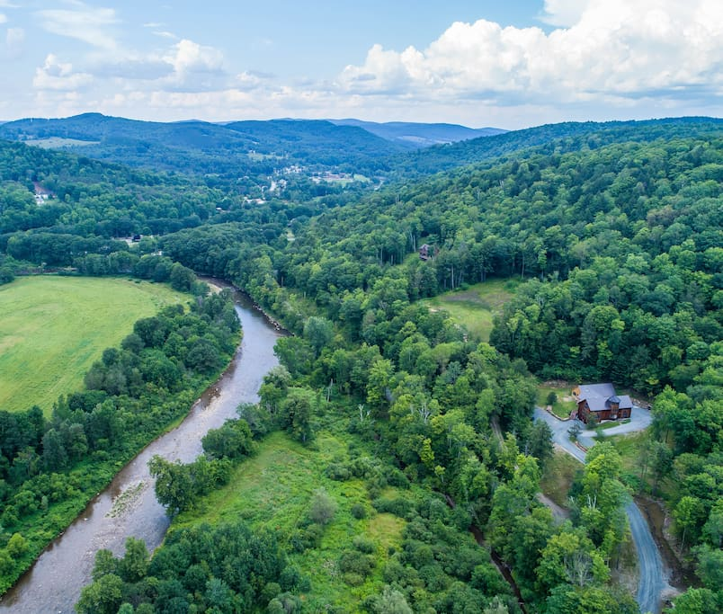 Aerie above the Ottauquechee River, Woodstock village top center, 2 miles from the house.
