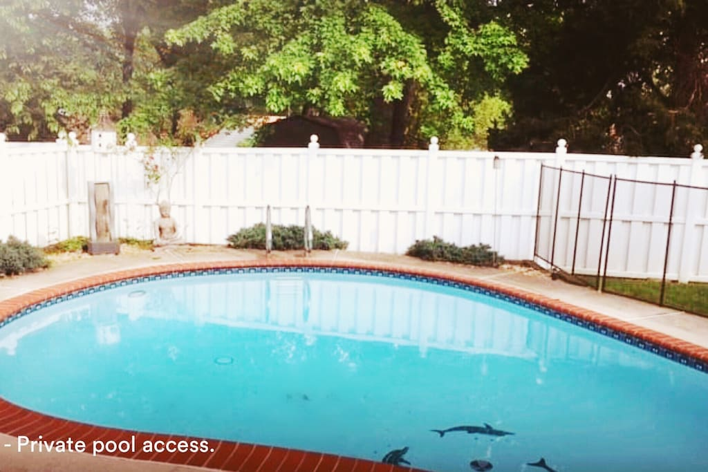 beautiful private pool with child safety fence