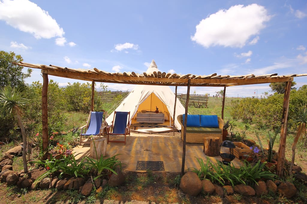 We have the first and only glamping Tipi in Kenya.  It's a massive 5m wide and so big enough for a family or four singles, and tall enough for any one to stand up in.