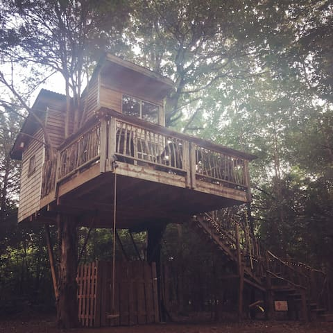 2-bed treehouse with fire pit, hammocks & swings