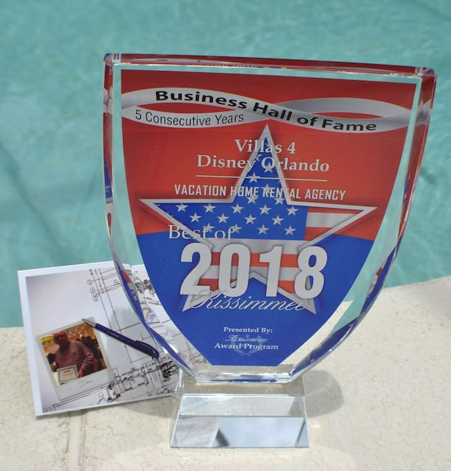 Another award for the homes under management of Villas 4 Disney Orlando