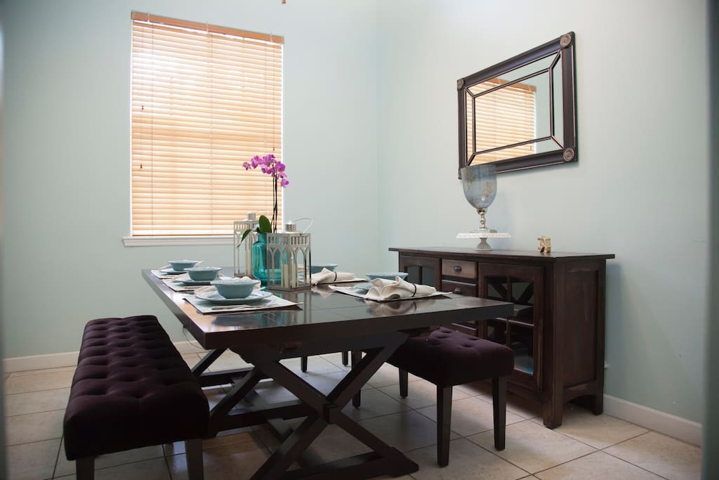 Countless stories have been told over this very modern dinning set. Laughter has strengthen our family and friendships. This space will do the same for those you love.