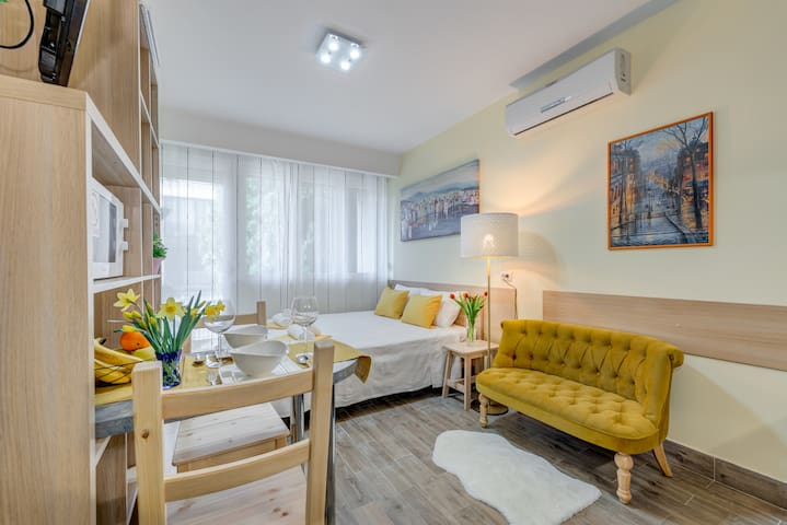 Bright, modern studio with balcony near Old Town