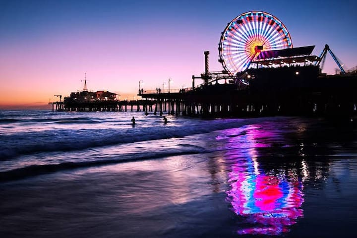 Santa Monica Pier and its amusement park.
