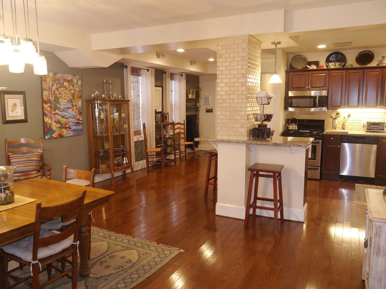 Open concept kitchen and dining room with plenty of space to mingle and enjoy.