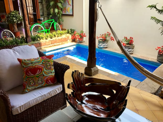 Details like handmade bowls from Masaya, 2 bicycles for guest use (Granada is a great city to explore on bikes) and a hammock help make Casa Romantica feel like home