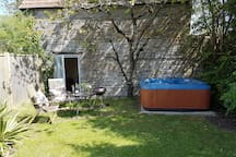 Back garden with private hot tub