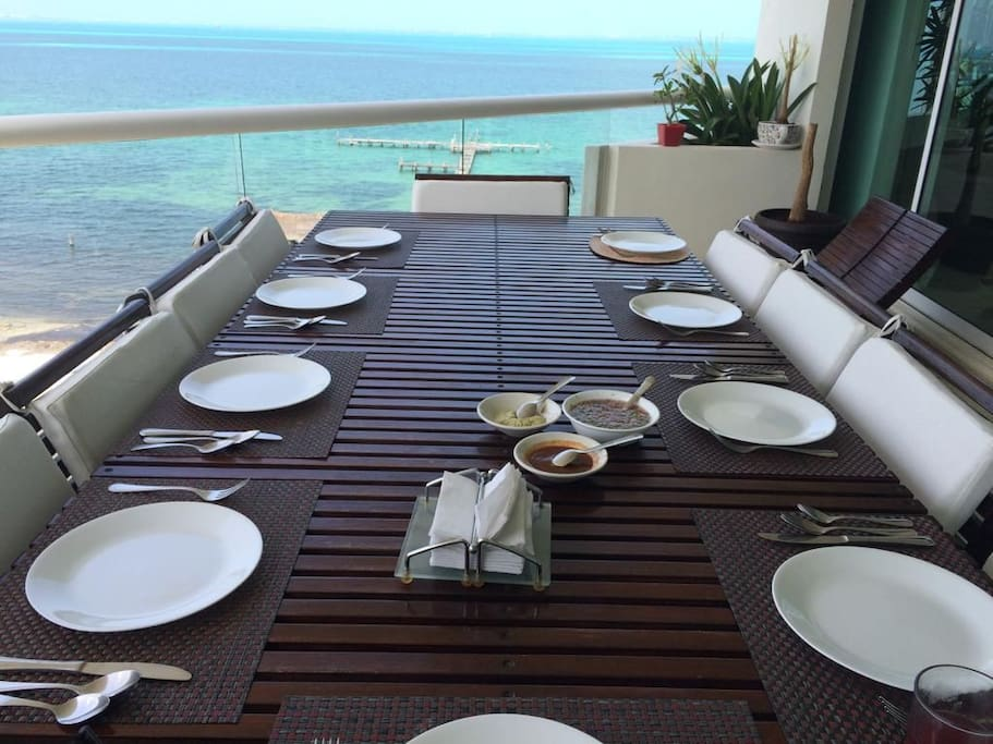 Incredible Dinning Terrace overlooking Isla Mujeres & the turquoise waters of the caribean!!