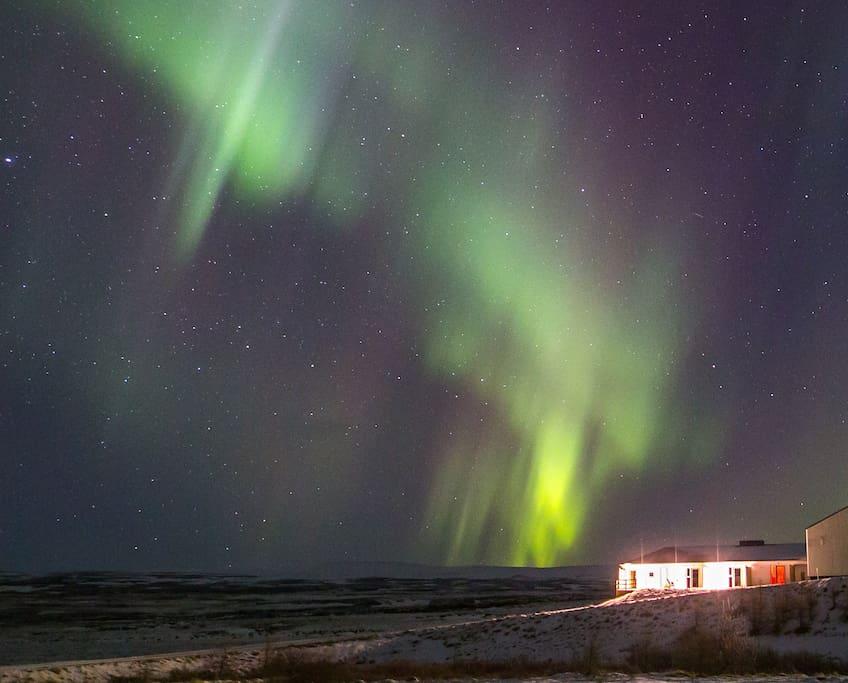 The northern lights in Skogar