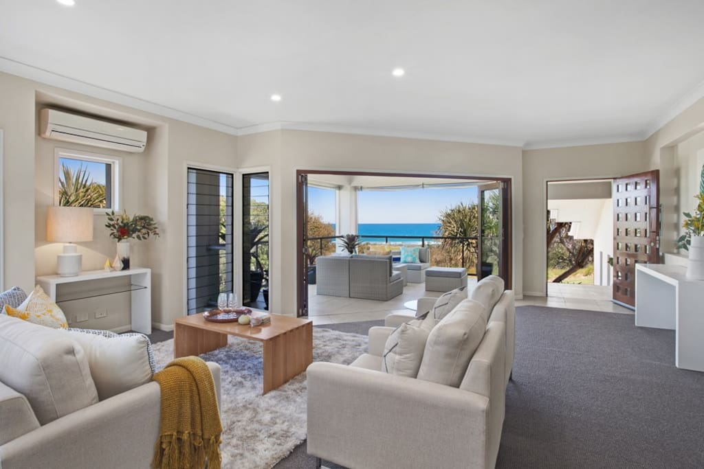 Upstairs living room with ocean views