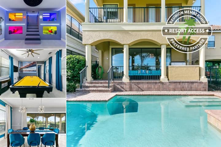Golden Villa | Kids Bedroom | Pool Table | Golf Course Views in Reunion | 374