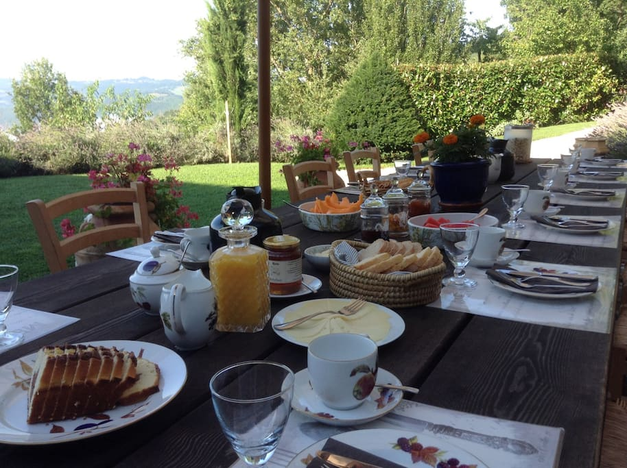 Breakfast served on the terrace
