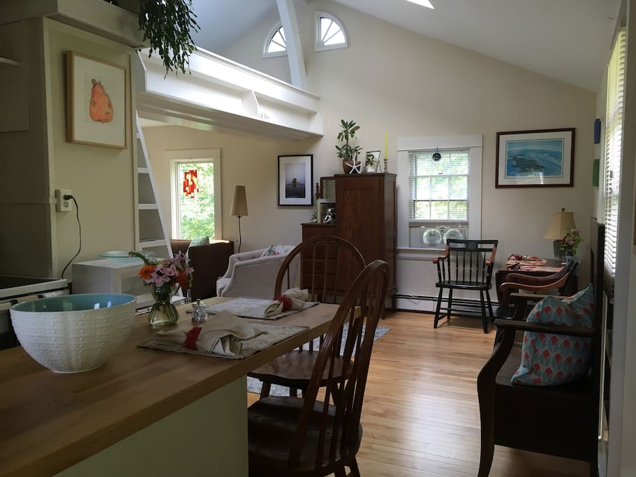 Bright, open concept living and dining areas. Great art, peaceful views and comfortable living space.