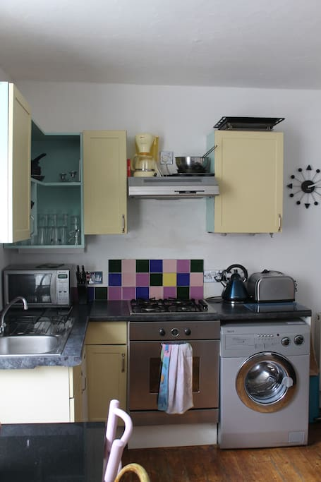 gas cooker hob and electric oven, plus fridge and washing machine