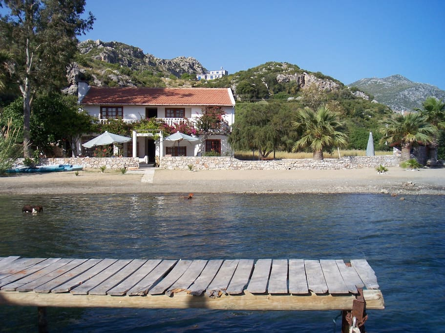 The villa from outside the jetty