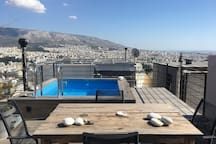 View from the roofgarden with the pool