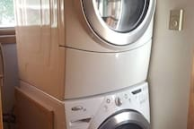 washer and dryer are brand new. We only use by degradable soap in this house, which is complimentary when you stay. laundry detergent, dish soap, shampoo and conditioner will be here for your use.
