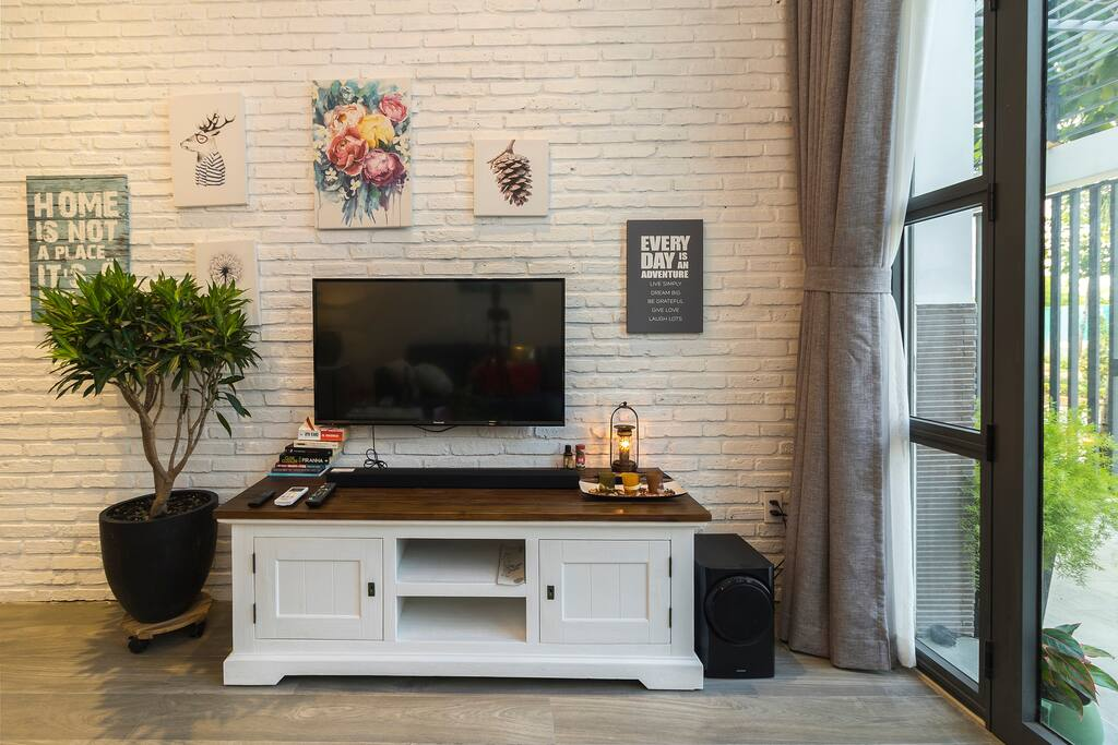 Entertaining with fully equipped modern television system.