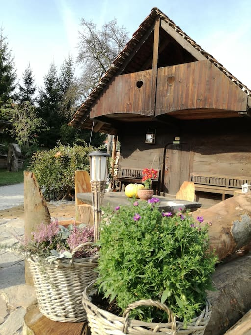 Cottage  is a unique ,beautiful wooden house- cute, small, romantic, for couples or families. The outdoor terrace( during the summer we put a big shadow patio) offers you a place to relax, enjoy the green fairytale of Stična