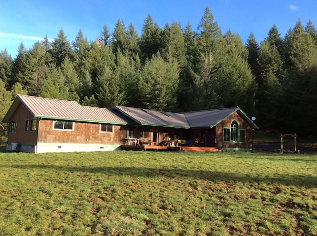 Colorful, rural, ranch-style house