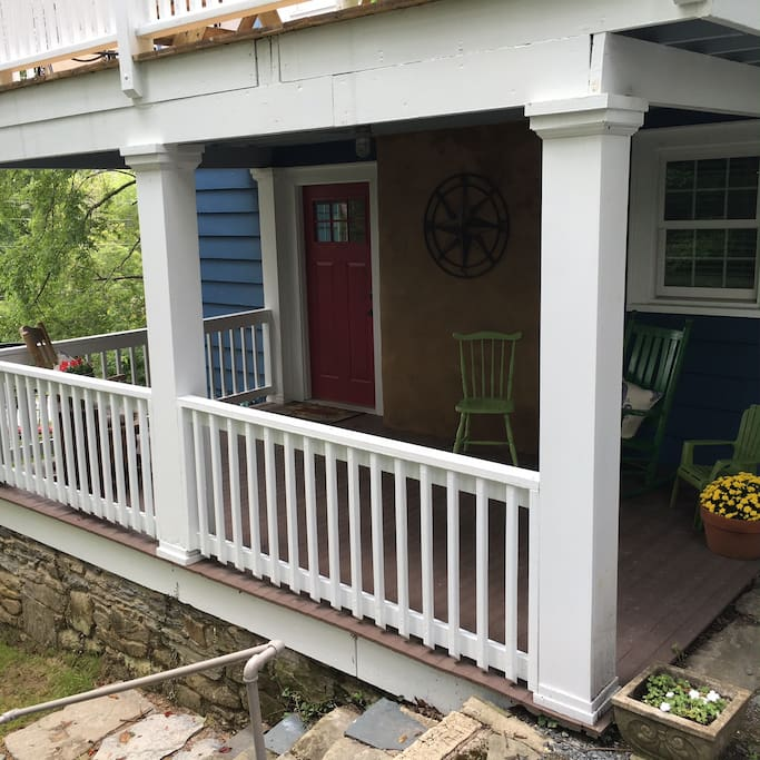 Red Door - private covered porch
