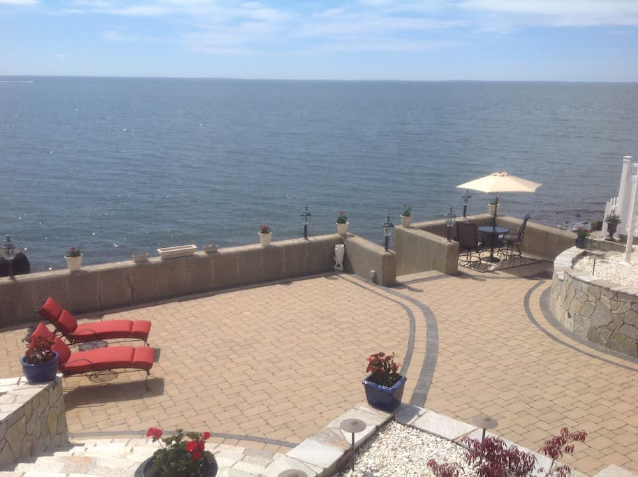 Private patio over looking Long Island Sound.